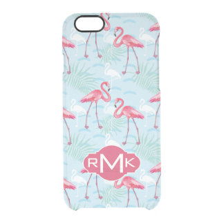 Flamingo Pattern | Monogram Clear iPhone 6/6S Case