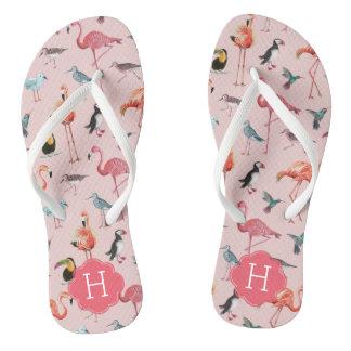 Flamingo Pattern Monogram | Flip Flops