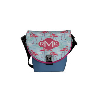 Flamingo Pattern | Monogram Messenger Bags