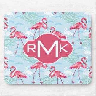 Flamingo Pattern | Monogram Mouse Pad