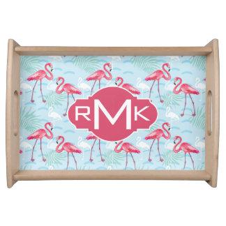 Flamingo Pattern | Monogram Serving Tray
