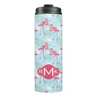 Flamingo Pattern | Monogram Thermal Tumbler