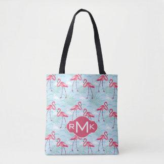 Flamingo Pattern | Monogram Tote Bag