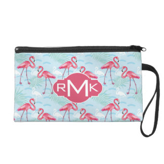 Flamingo Pattern | Monogram Wristlet