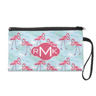 Flamingo Pattern | Monogram Wristlet Purses