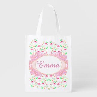flamingo pattern reusable grocery bag