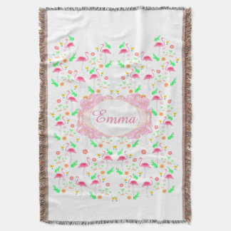 flamingo pattern throw blanket