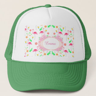 flamingo pattern trucker hat