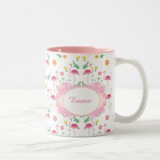 flamingo pattern Two-Tone coffee mug