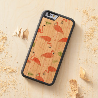 Flamingo Pattern Watercolor Wood iPhone Case Cherry iPhone 6 Bumper Case