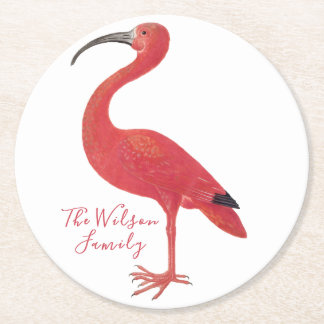 Flamingo - Personalised Fine Art Round Paper Coaster