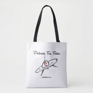 Flamingo Piloting a Perilously Fun Flying Saucer Tote Bag
