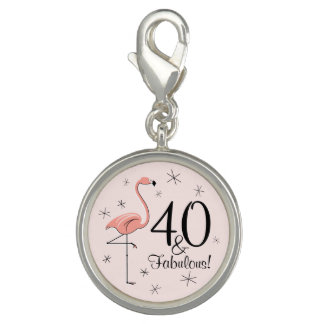 Flamingo Pink '40 and Fabulous!' charm