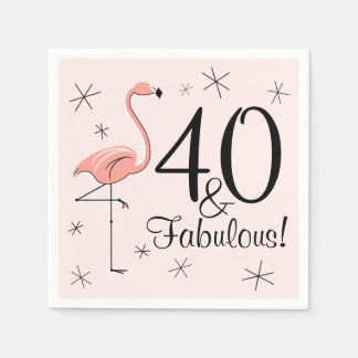 Flamingo Pink '40 and Fabulous!' paper napkins Disposable Napkin