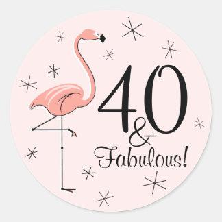Flamingo Pink '40 and Fabulous!' sticker
