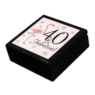 Flamingo Pink '40 and Fabulous!' tile gift box