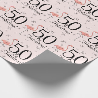 Flamingo Pink '50 and Fabulous!' wrapping paper