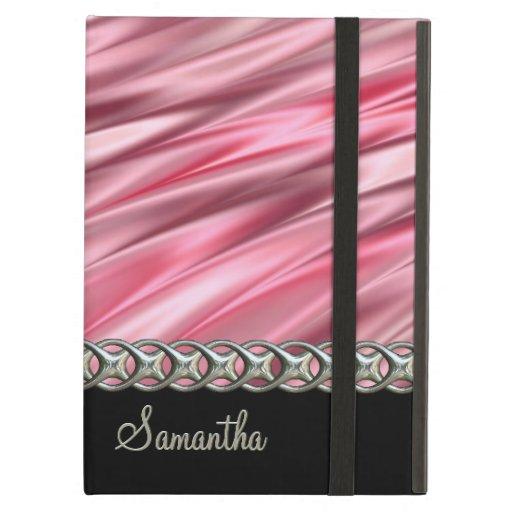 Flamingo pink, black, silver chain, monogram iPad cases