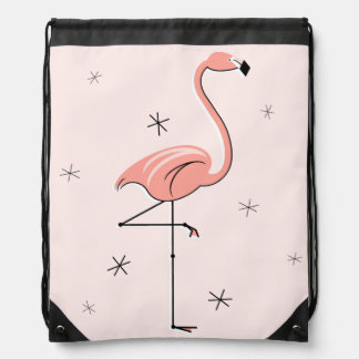 Flamingo Pink drawstring backpack