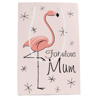 Flamingo Pink 'Fabulous Mum' gift bag medium