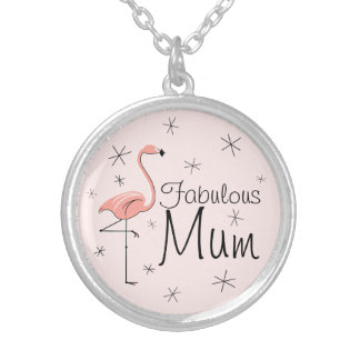 Flamingo Pink 'Fabulous Mum' round Silver Plated Necklace