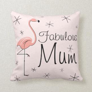 Flamingo Pink 'Fabulous Mum' throw pillow