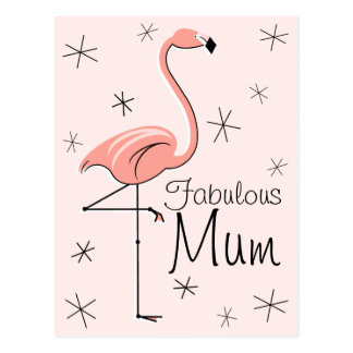 "Flamingo Pink ""Fabulous Mum"" vertical postcard"