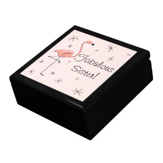 Flamingo Pink Fabulous Sister! tile gift box