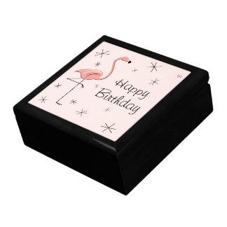 Flamingo Pink Happy Birthday tile gift box