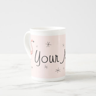 Flamingo Pink  Name bone china mug