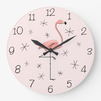 Flamingo Pink numbers clock round