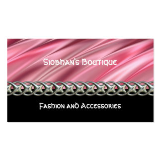 Flamingo pink satin style stripes and black pack of standard business cards