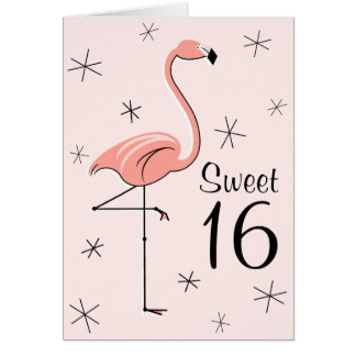 Flamingo Pink Sweet 16 greetings card vertical