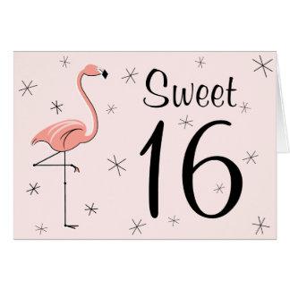 Flamingo Pink Sweet 16 Happy Birthday card