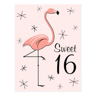 "Flamingo Pink ""Sweet 16"" vertical postcard"