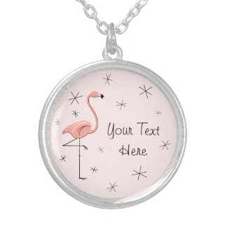 Flamingo Pink 'Text' round Silver Plated Necklace