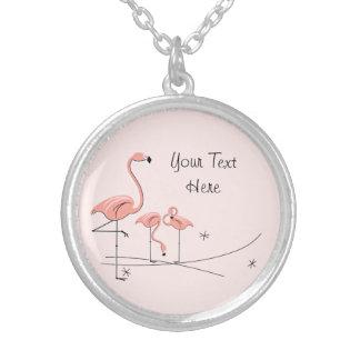 Flamingo Pink Trio 4 'Text' round necklace