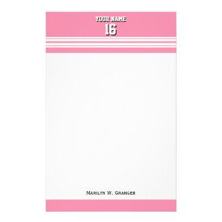 Flamingo Pink White Team Jersey Custom Number Name Customized Stationery