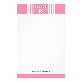 Flamingo Pink White Team Jersey Custom Number Name Stationery Design