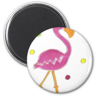 Flamingo Polka Dots 6 Cm Round Magnet