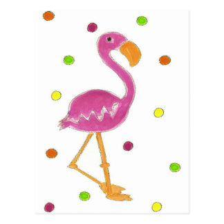 Flamingo Polka Dots Postcard