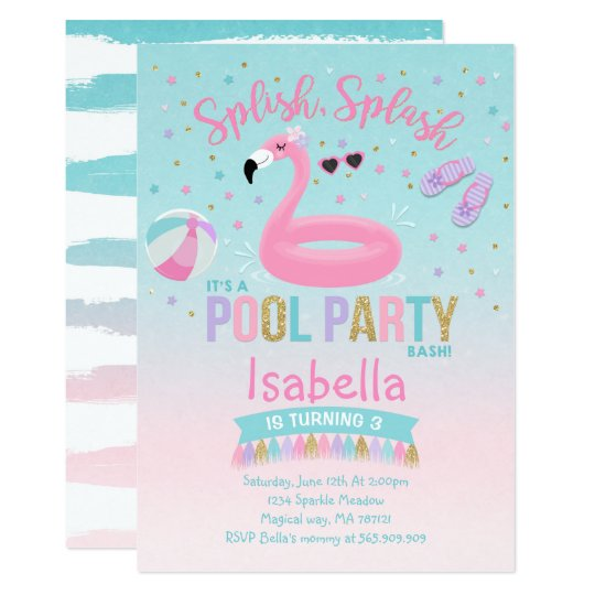 Flamingo Pool Party Birthday Invitation Pink Gold