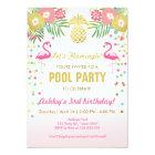 Flamingo Pool party invitation Tropical
