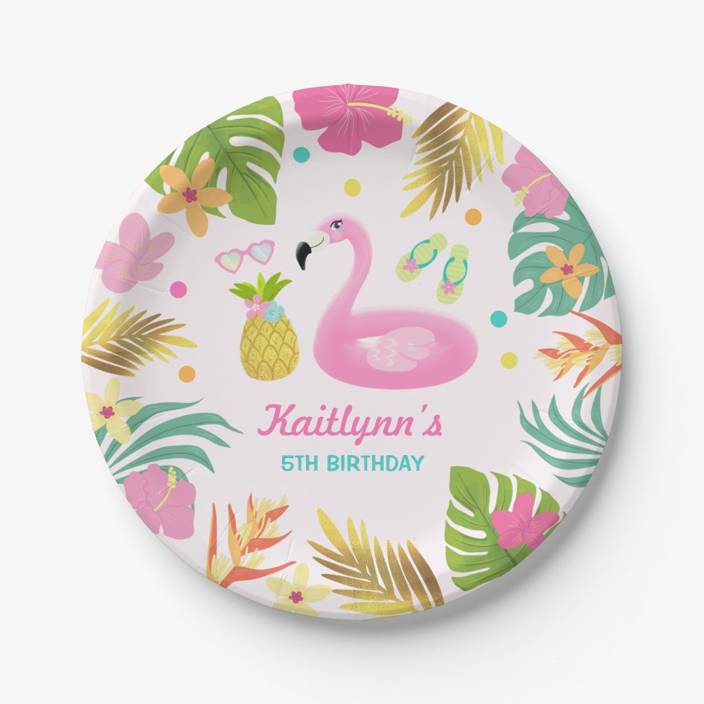 Flamingo Pool Party Paper Tropical Pool Party Paper Plate