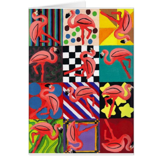 Flamingo Portrait Abstract Art Greeting Card
