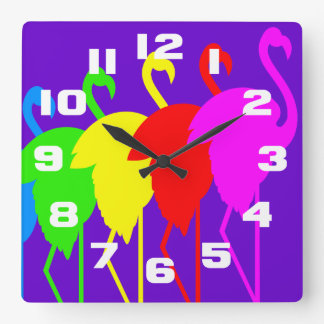 Flamingo Rainbow Square Wall Clock