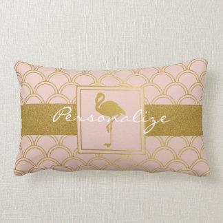 Flamingo Retro Pink and Faux Gold Personalised Lumbar Cushion