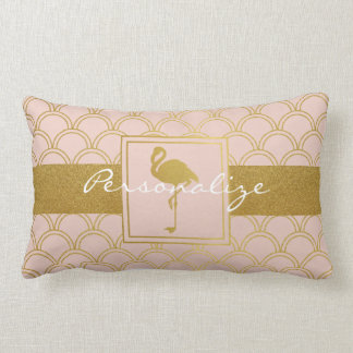 Flamingo Retro Pink and Faux Gold Personalised Lumbar Pillow