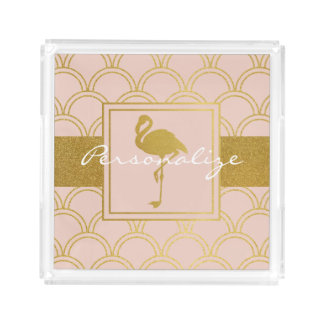 Flamingo Retro Pink and Faux Gold Vintage Acrylic Tray