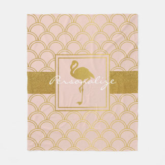 Flamingo Retro Pink and Faux Gold Vintage Fleece Blanket